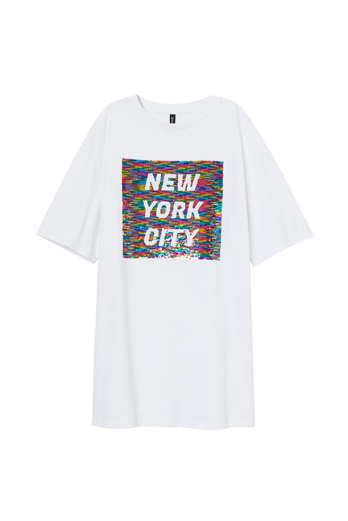 "White shirt with ""New York City"""" statement in rainbow is part of H&M Unveils Love For All Collection"
