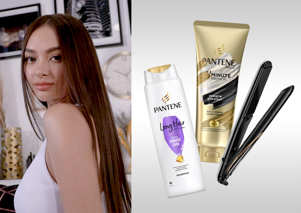 Get a A no-fuss straightened style with Pantene Total Damage Care shampoo with Rice Oil Essence and Pantene 3 Minute Miracle conditioner paired with the BaByliss 3Q Straightener